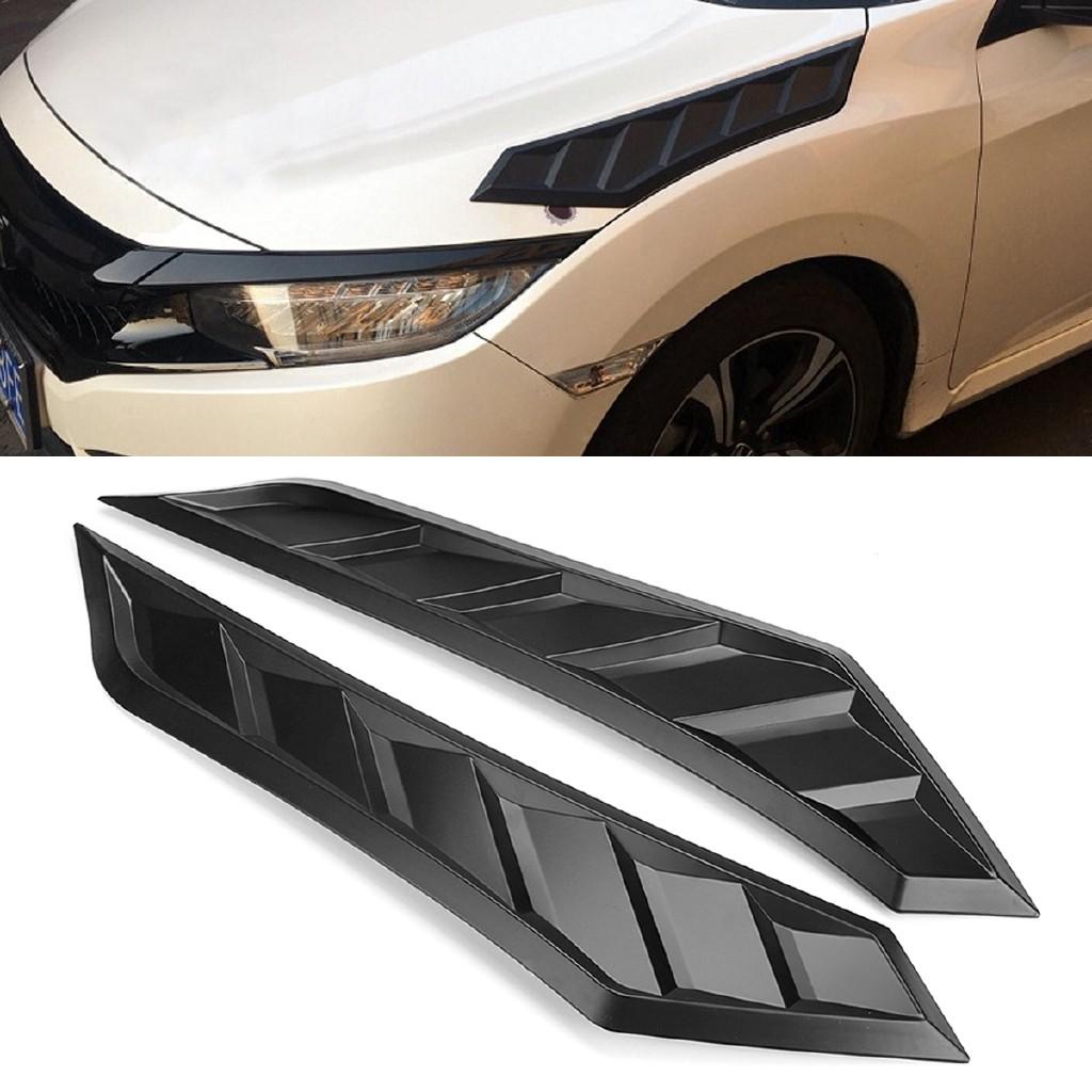 Hood Bonnet Long Side Louver Vent Decor For 2016-2018 10th Gen Honda Civic JDM