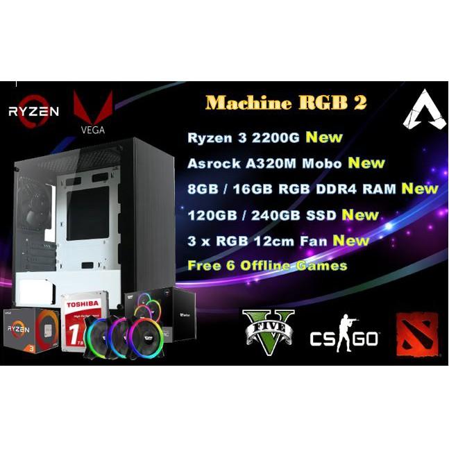 #PUBG Ryzen 3 Full RGB Gaming PC 16 GB RAM 1TB HDD Vega GPU 8 Windows 10  Pro#
