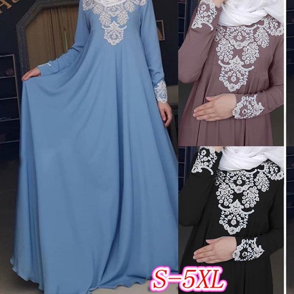 Muslim Wear Women Maxi Dress Floral Long Sleeve Muslim Dress Baju Kebaya S 5xl