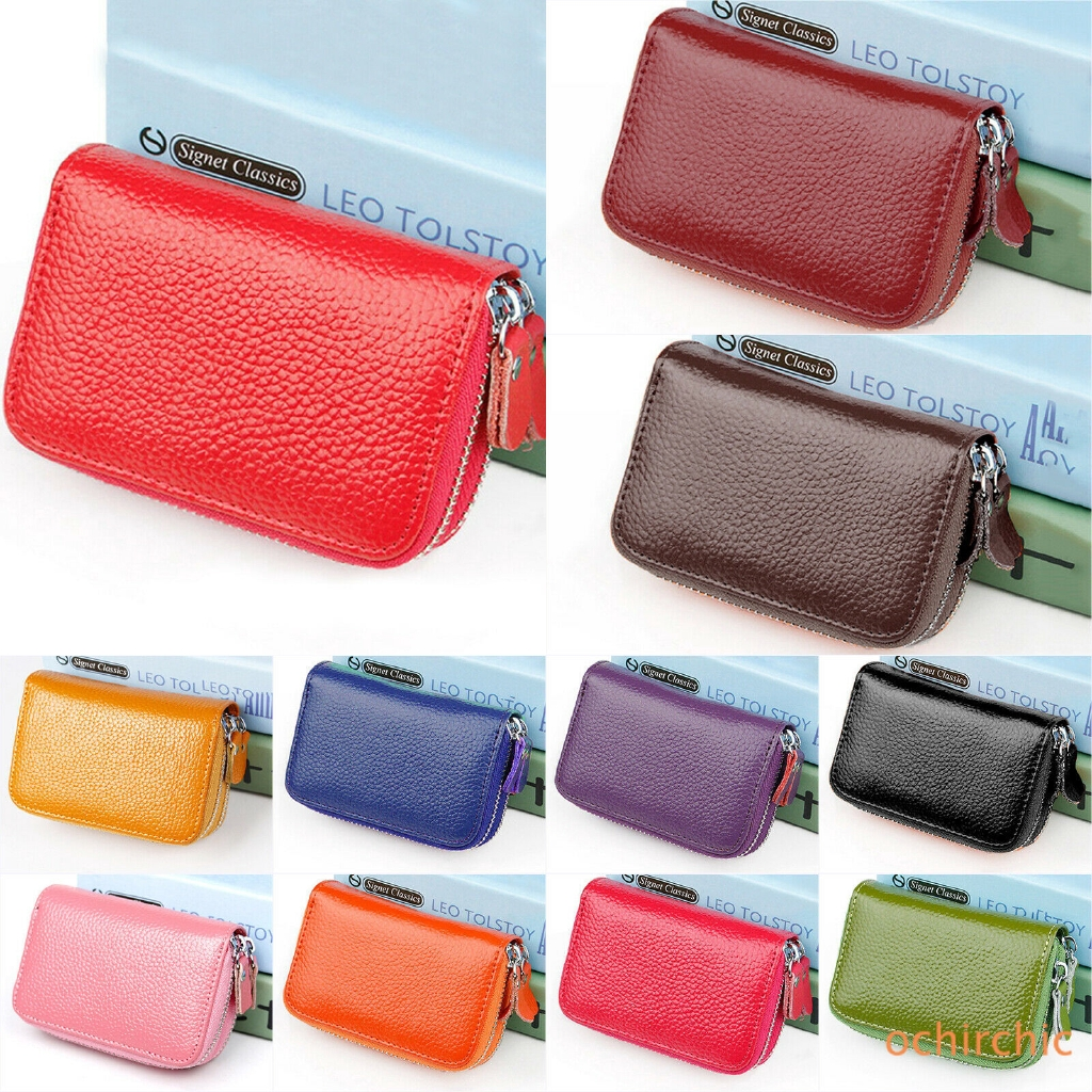Women Mini Wallet PU Leather Coin Card Double Zipper Small Case ✿OC✿