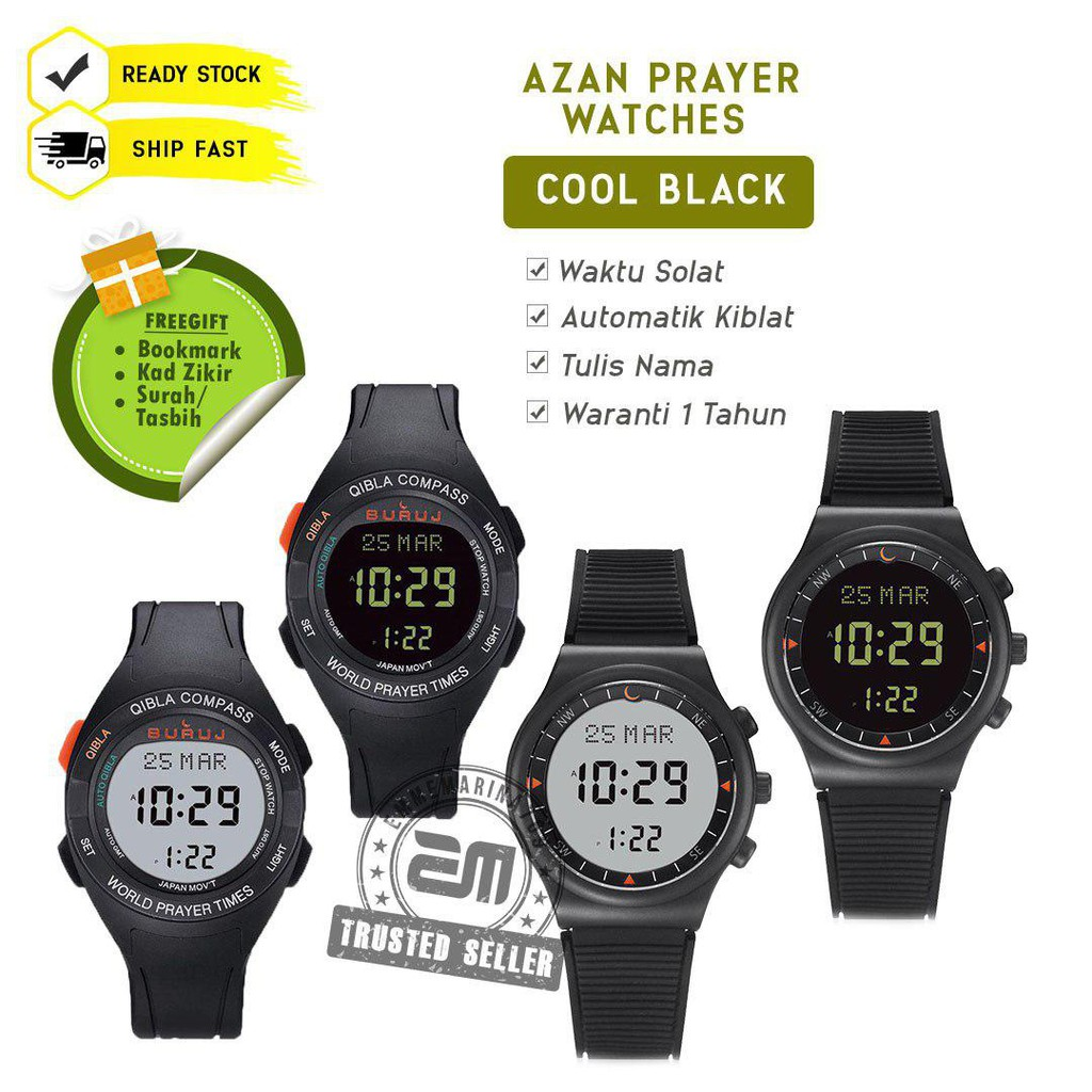 Jam Buruj Watches Black Strap Exclusive and Qibla Azan Watch Jam Tangan Solat Digital dan Kiblat Kompass EMMEMARINA