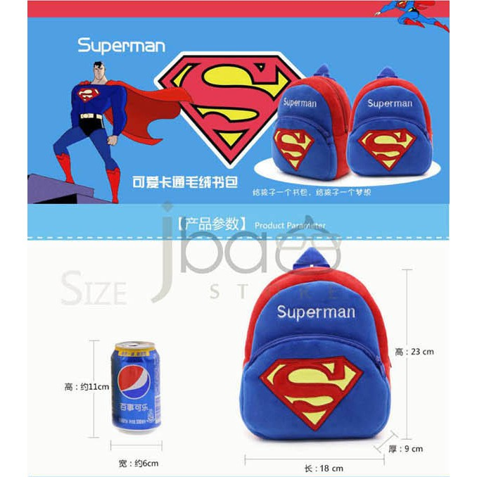 Superhero Kid Backpack Shopping Soft Bag Spider-man