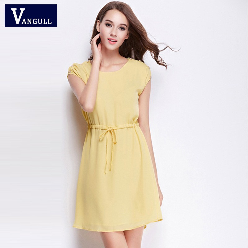 432d48b57f71b Women Mini Dress Summer Sweet Yellow Chiffon Drawstring Waist O-neck Dresses