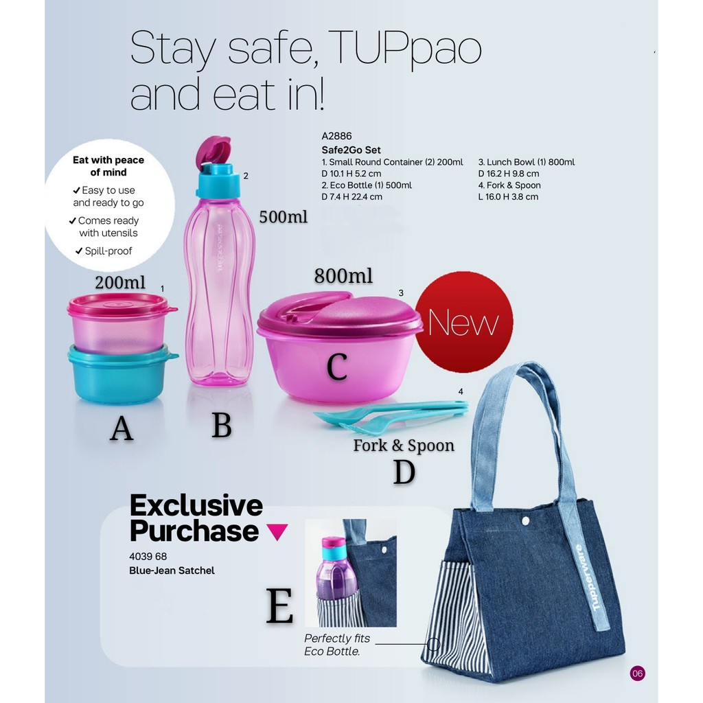 lunch bag Tupperware Safe2Go Set (Small Round / Eco Bottle / Lunch Box / Lunch Bag)