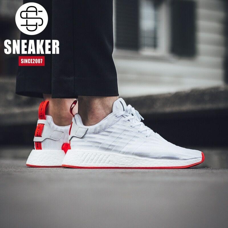 los angeles 09175 27fab Adidas NMD R2 Boost white men leisure shoes BA7253 BA7252