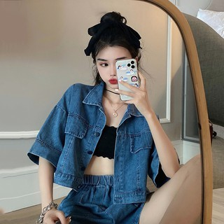 ✁☞Summer Korean small suit cardigan Shorts Set women 2020
