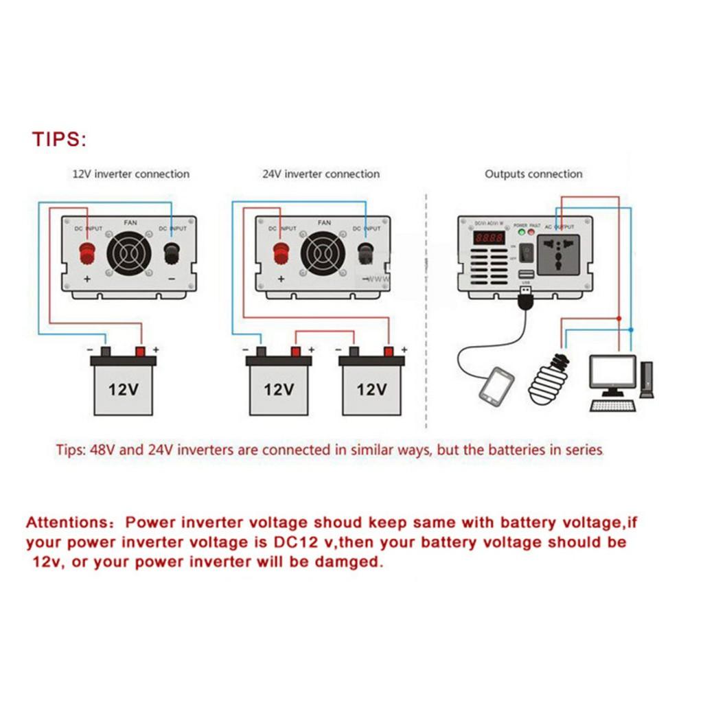 500W Solar Power Inverter DC 12V To AC 110V//220V Converter Invertor Electronic