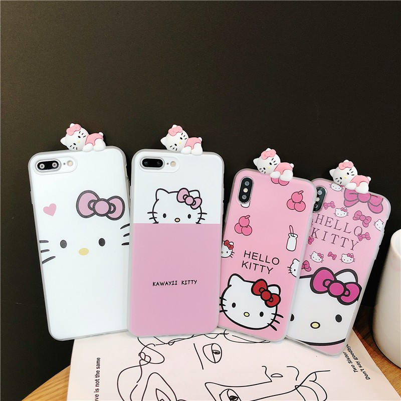 3D Cute Cartoon Hello Kitty Case Toy Cover For iPhone 6 6s 7 8 plus x XR Xs  max