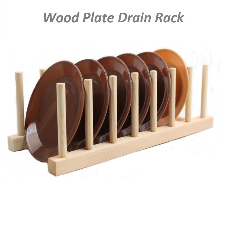 Home Basics Wood Dish Rack Bowl Cup