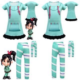 Wreck-It Ralph 2 Vanellope von Schweetz girls kids Cosplay Dress Pants Costume