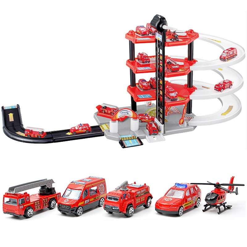 Children'S Large Track Car Park Toy Four-layer Diy Fire