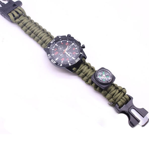 IPRee 6 In 1 EDC Paracord Watch Outdoor Survival Bracelet Tool Kit