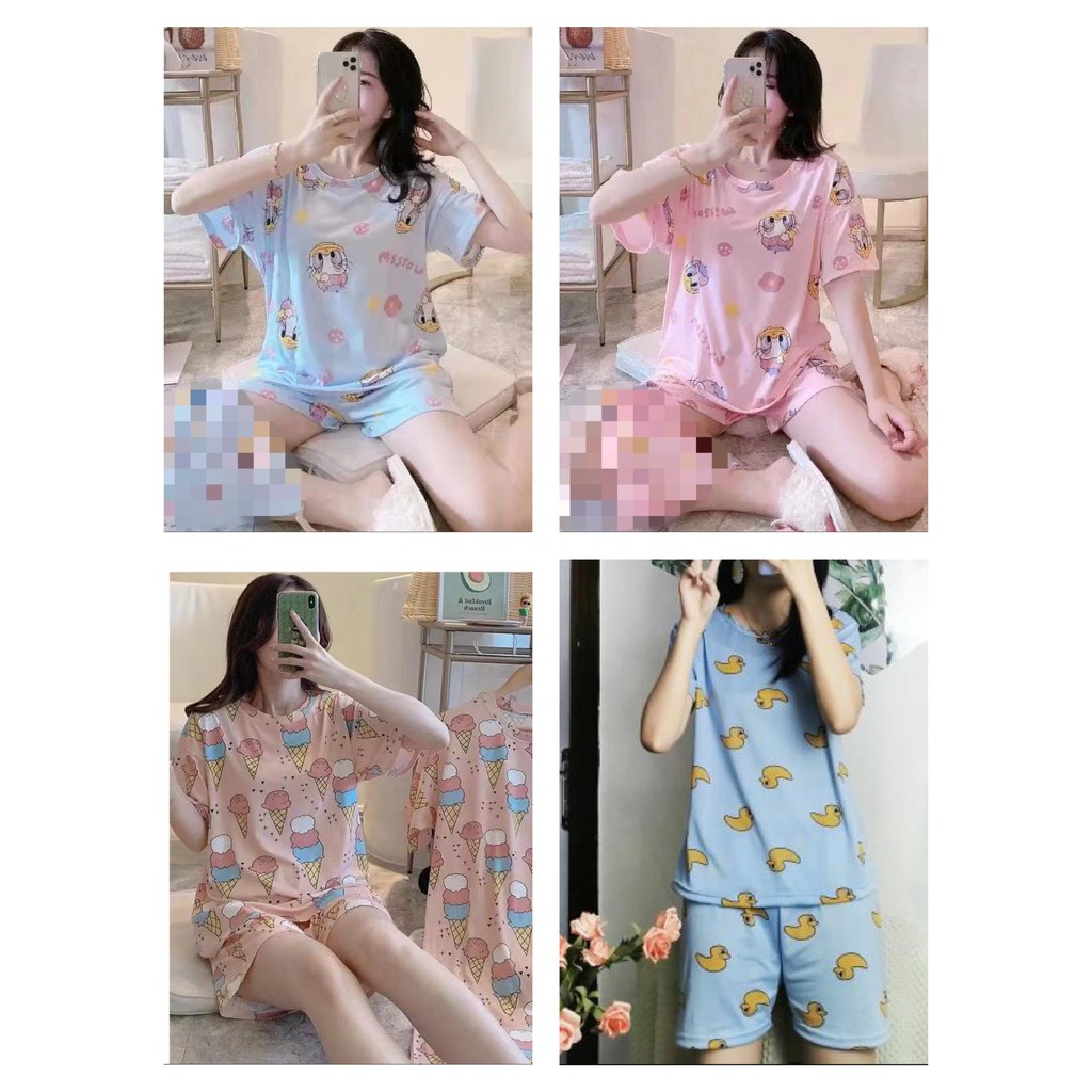 [READY STOCK] WOMEN MILK SILK SHORT SLEEVE SHIRT & SHORT TROUSER SLEEPWEAR PYJAMAS WITH PRINTED DESIGN (4 DESIGNS)