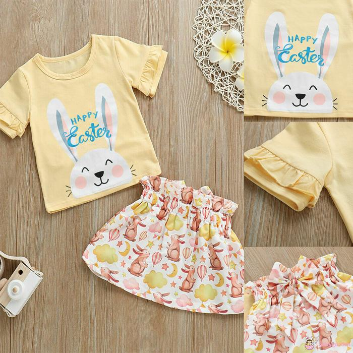 Easter Outfits Clothes,Toddler Kids Baby Girl Outfits Clothes Cartoon Rabbit T-Shirt Tops+Dot Skirt Set