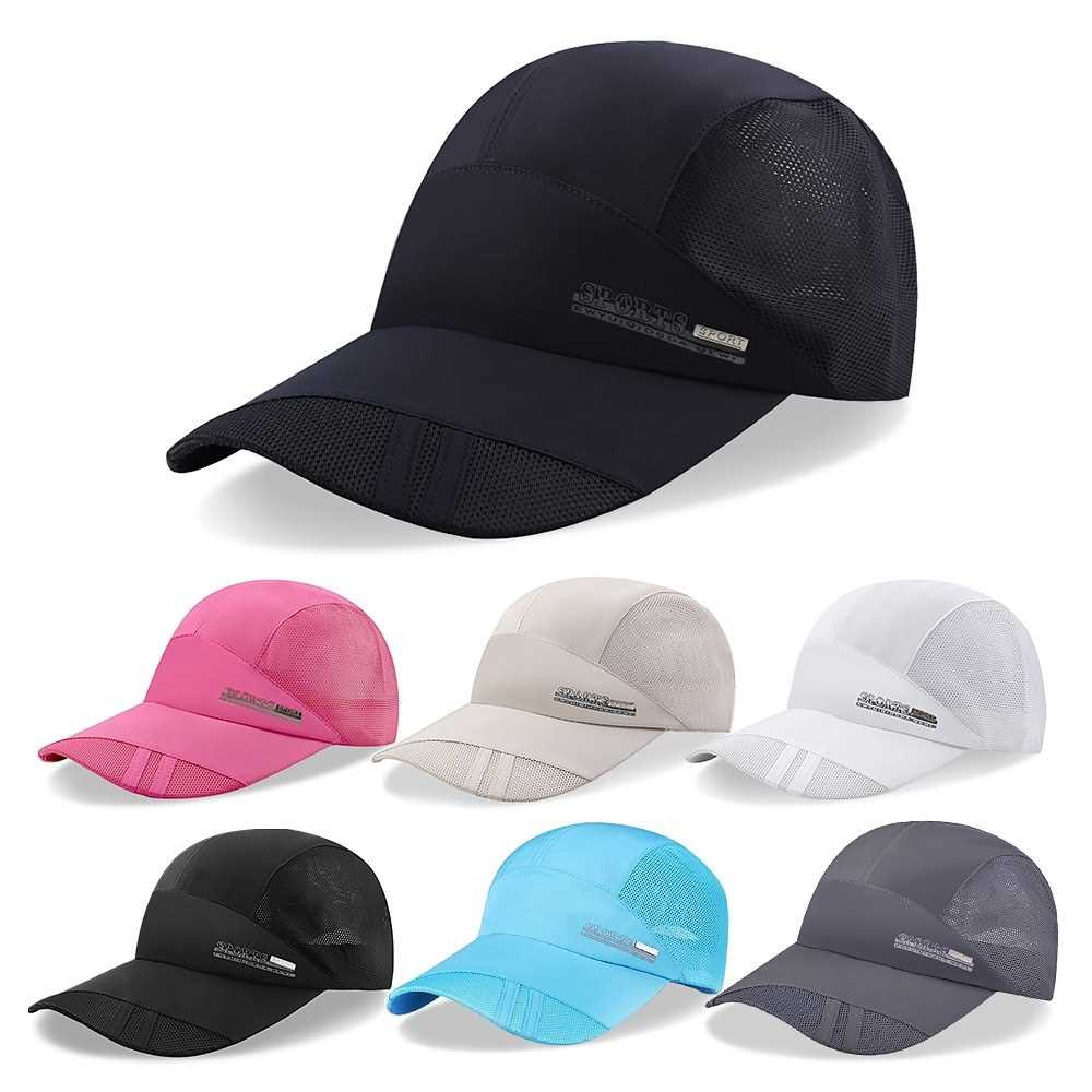 Outdoor Sports Breathable Quick Dry Mesh Baseball Cap Sun Hat for Men Women (Rose Red)