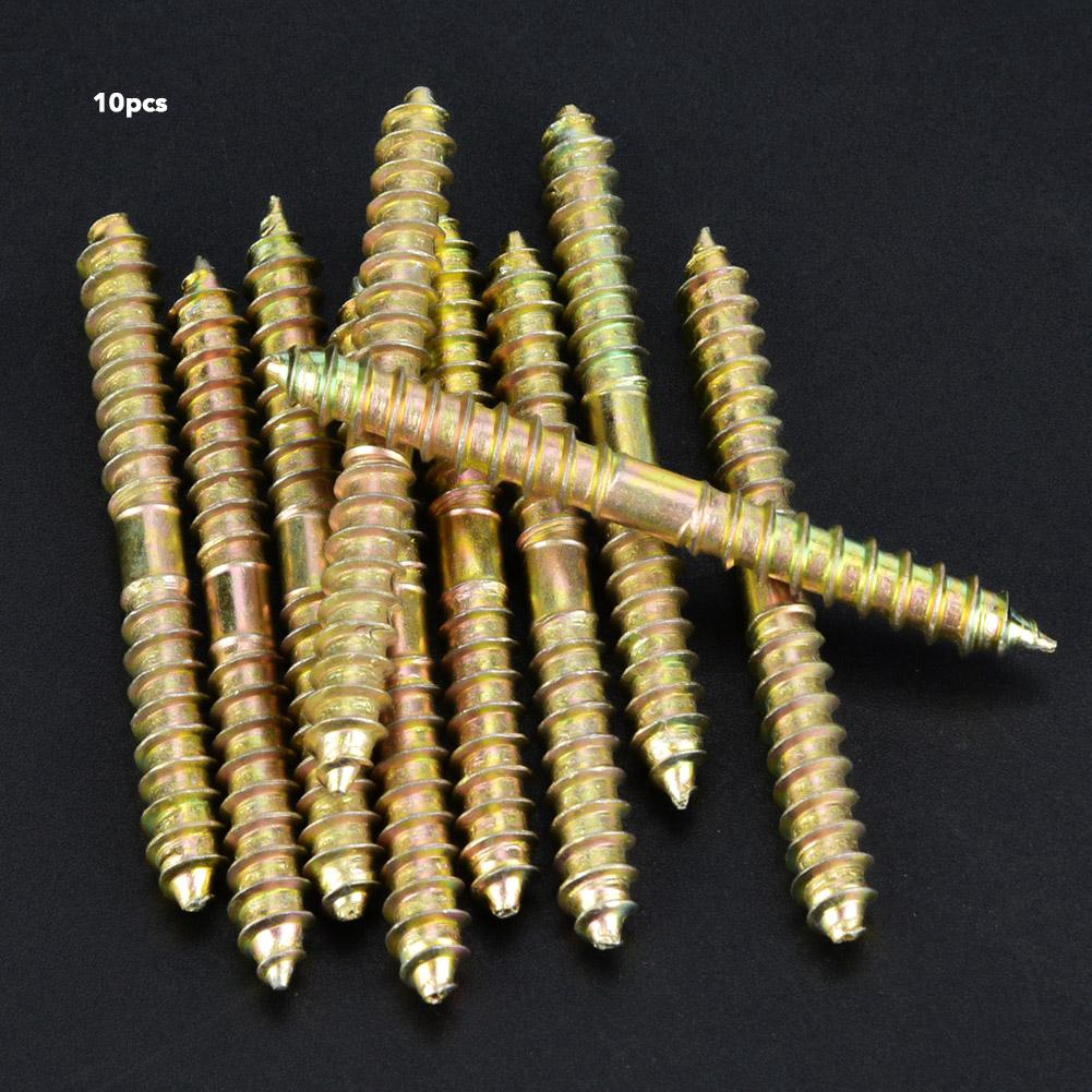 10pcs 6*50mm Double Ended Wood to Wood Furniture Fixing Dowel Screw