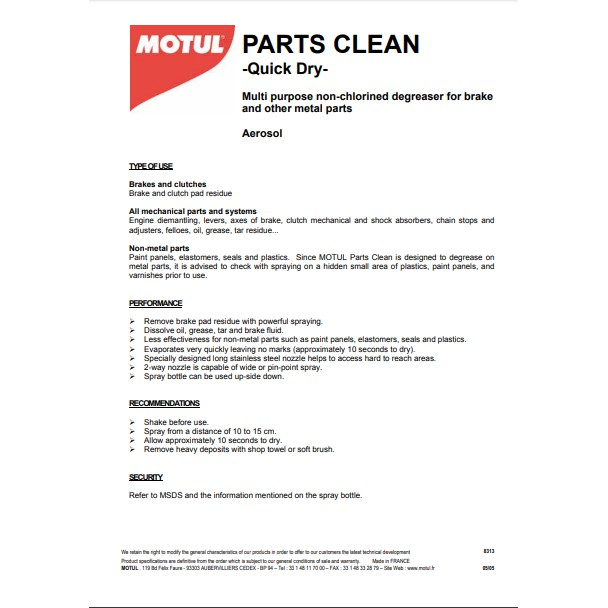 MOTUL PARTS CLEAN X 2 CAN QUICK DRY MAINTENANCE AND CARE
