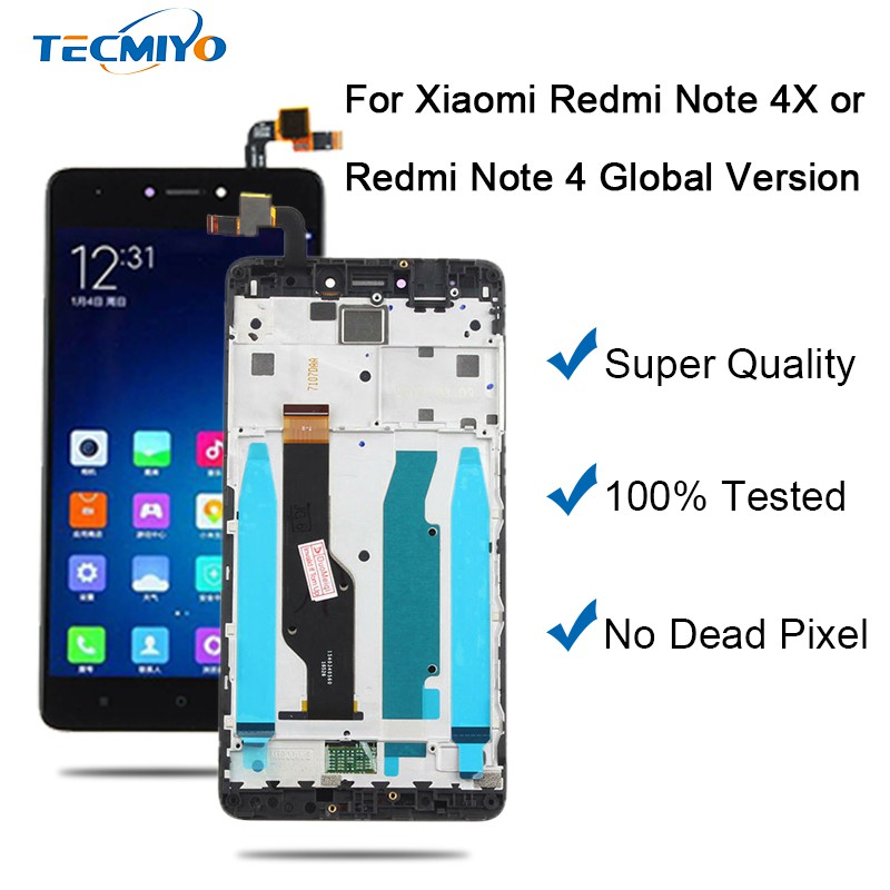 Black LCD Touch Digitizer Assembly Xiaomi Redmi Note 4X/Note 4 Global  Version With Frame