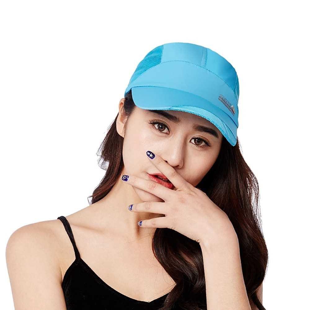 Outdoor Sports Breathable Quick Dry Mesh Baseball Cap Sun Hat for Men Women (Light Blue)
