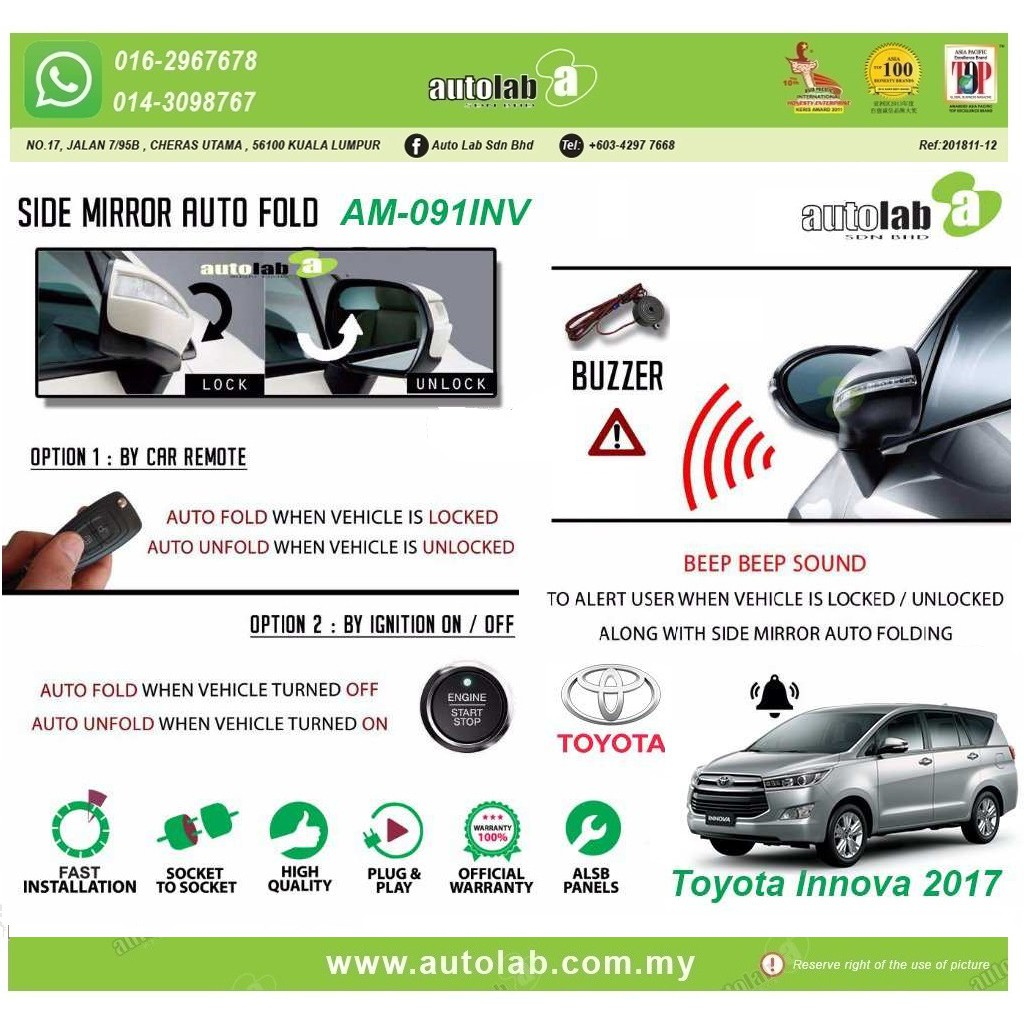 Amark Side Mirror Auto Fold Toyota Innova AM-091NV