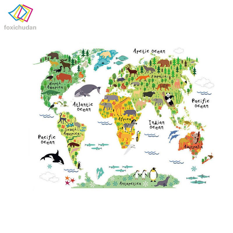 ♚FCD♚New Colorful World Map Wall Sticker Home Mural Art Decor Living Room  Bedroom Walls Decoration
