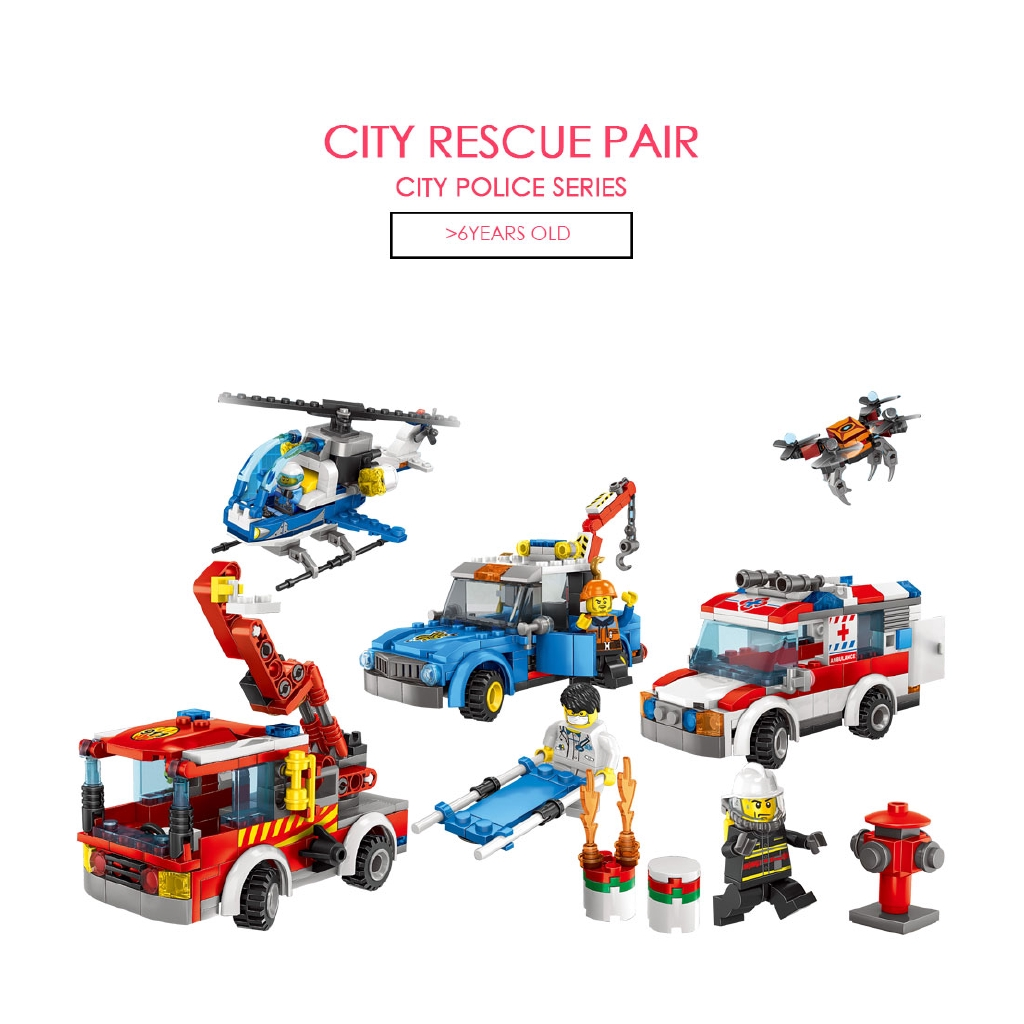 City rescue pair Cty Police series Deformed car Building block LEGO City Suit combination brain game Mini model Boy Gift