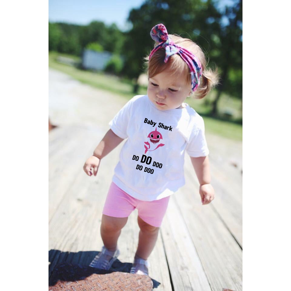 Short Pants Outfits Set Baby Boy Girl Clothes Summer Shark Doo Doo Print Cotton Short Sleeve T-Shirt Tops