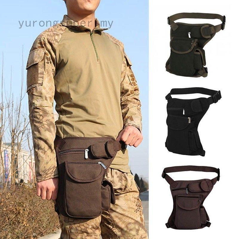 Men Canvas Drop Leg Bag Motorcycle Rider Tactical Hip Thigh Waist Fanny Pack