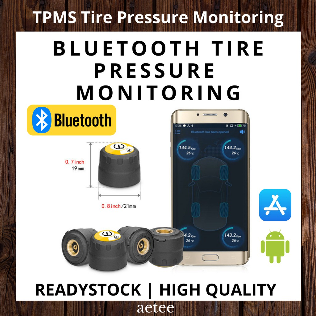 TPMS Bluetooth 4.0 Car Outer 4 Pieces Sensors TPMS Tire Pressure BLE TPMS Low Energy For Android And IOS [aetee]