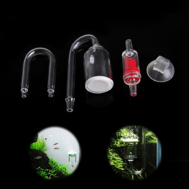 4pcs/Set Aquarium Fish Tank CO2 Diffuser Check Valve Glass Tube Suction Cup