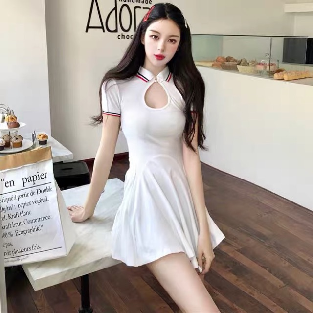 [Free Size]Summer new waist white skirt short-sleeved T-shirt dress women's clothing夏季新款收腰白色裙子蓬蓬A字短裙修身翻领短袖T恤连衣裙女装