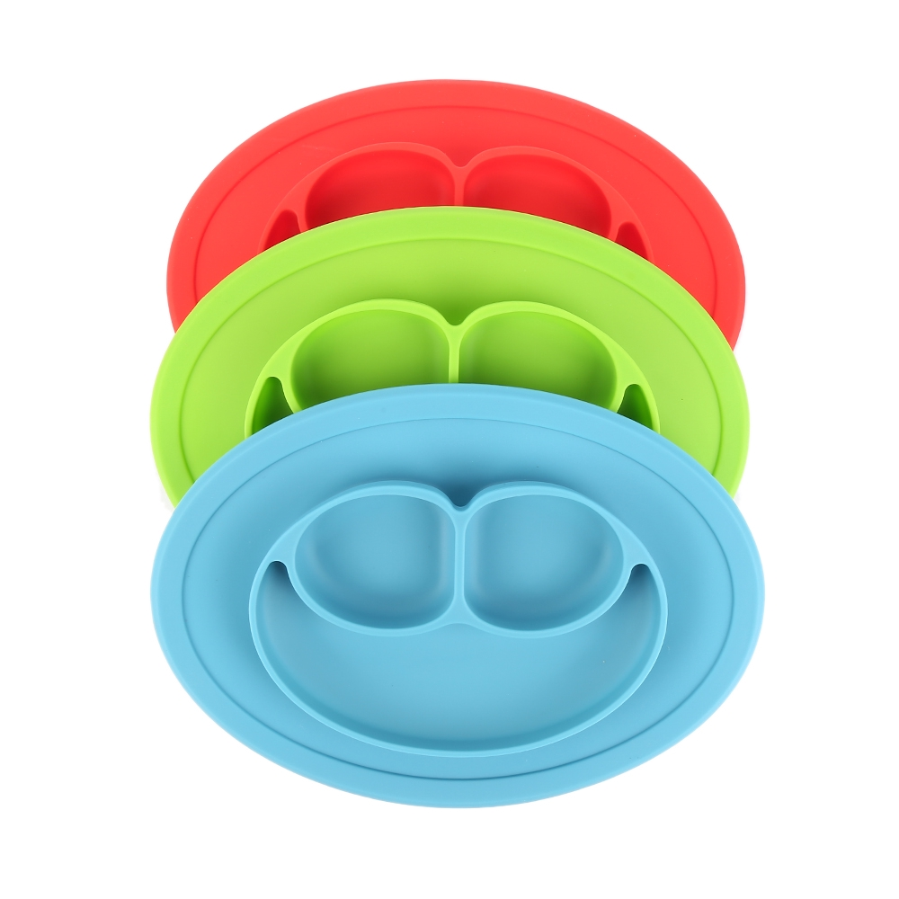 Silicone Baby Snack Mat Non Slip Happy Face Toddler Placemat Suction Sticky Table Plate Tray Purple