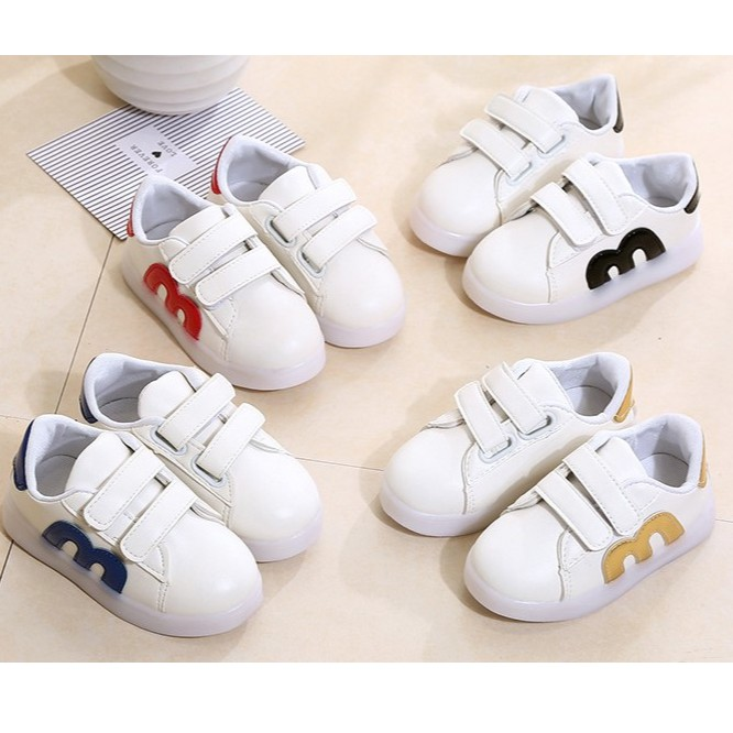 CLEARANCE ! Kids Shoes M Design Sneakers without LED Lamp by OEM Kasut Budak Unisex (Black/Blue/Gold/Red)