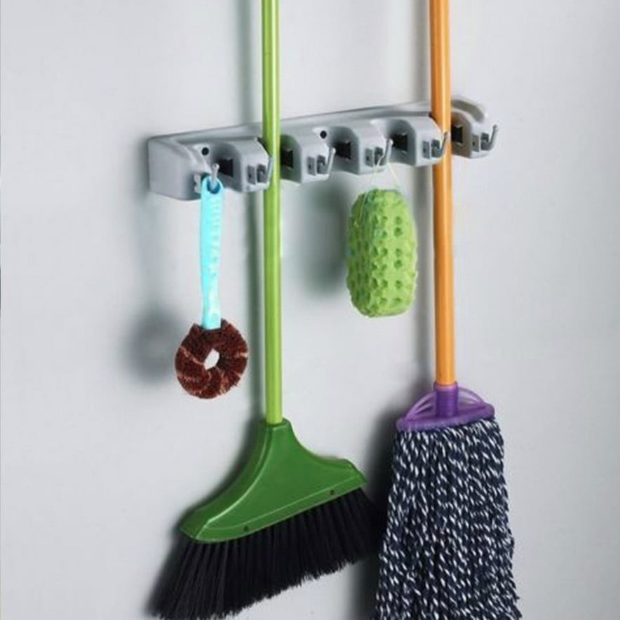 Slot Mop and Broom Holder Brush Broom Hanger Storage Rack Kitchen Organizer with Mounted Accessory