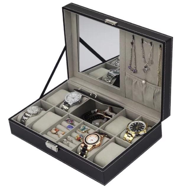 พร้อมส่ง🔥 C08 กล่องใส่นาฬิกาและเครื่องประดับมีกระจกห
