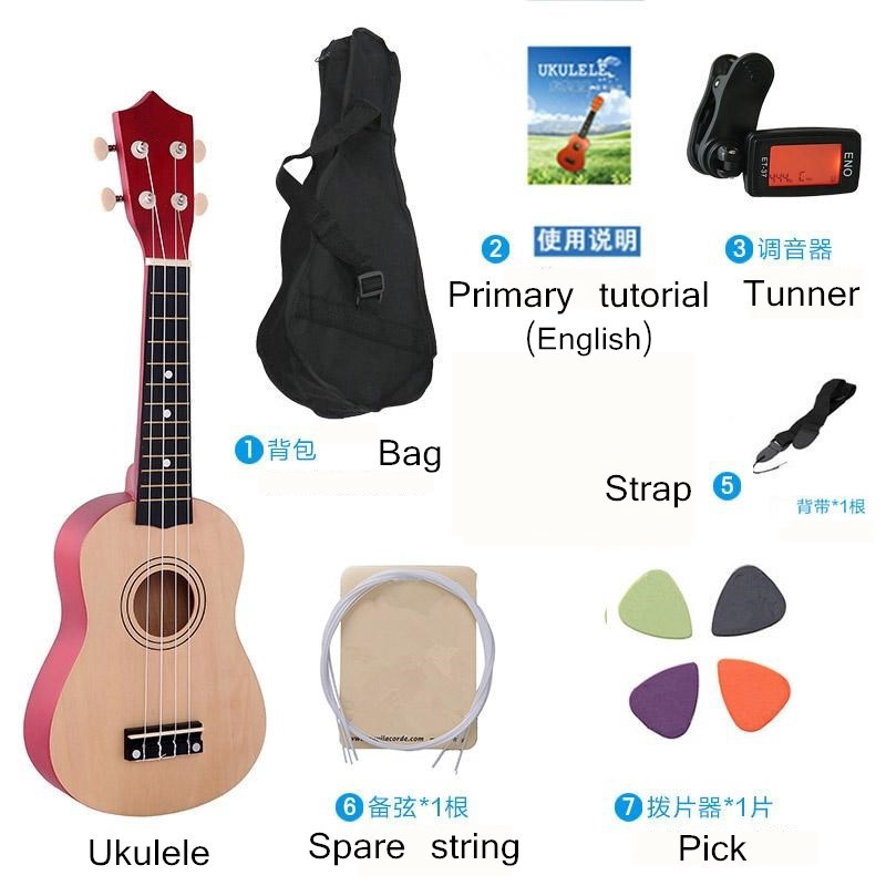 Soprano Ukulele Beginner Pack 21 Inch Basswood kids Ukuleles Starter Kit with Gig Bag Digital Tuner Spare Strings and Picks. white
