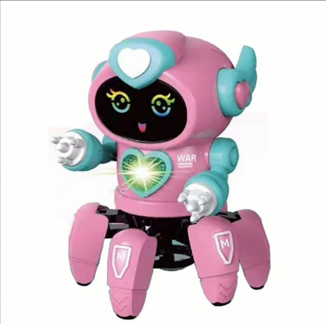 Pink Robot BOT Pioneer Dancing Octopus LED Lights and Music Figure