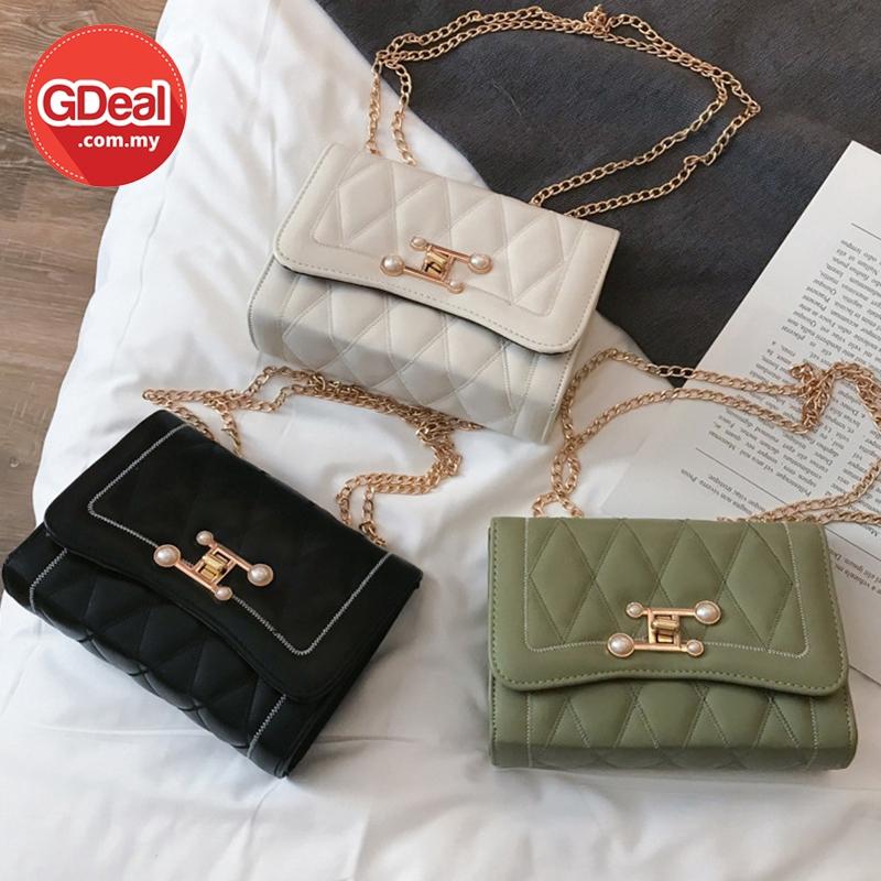 GDeal Elegant Classy PU Leather Sling Shoulder Handbag Woman Pearl Lock Chain Small Square Bag