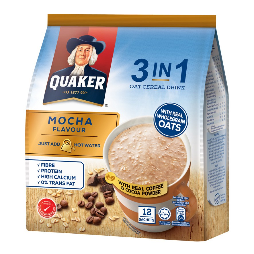 Quaker 3in1 Oat Cereal Drink - Matcha Green Tea / Mocha Flavour ...