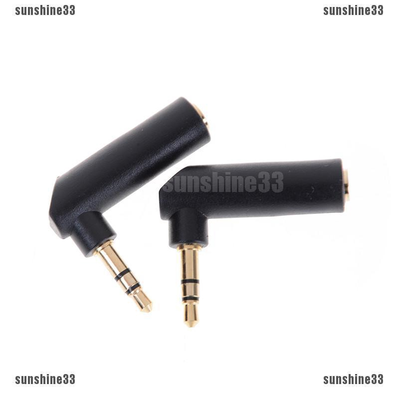 2pcs L Shape 3.5mm Right Angle Female to 3.5mm Male Plug Adapter Connector HI