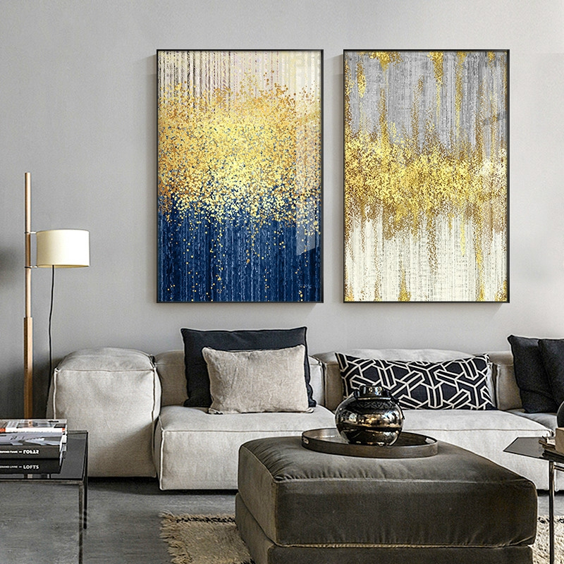Abstract Blue And Grey Bright Color Canvas Painting Poster Print Living Room Wall Decor Shopee Malaysia