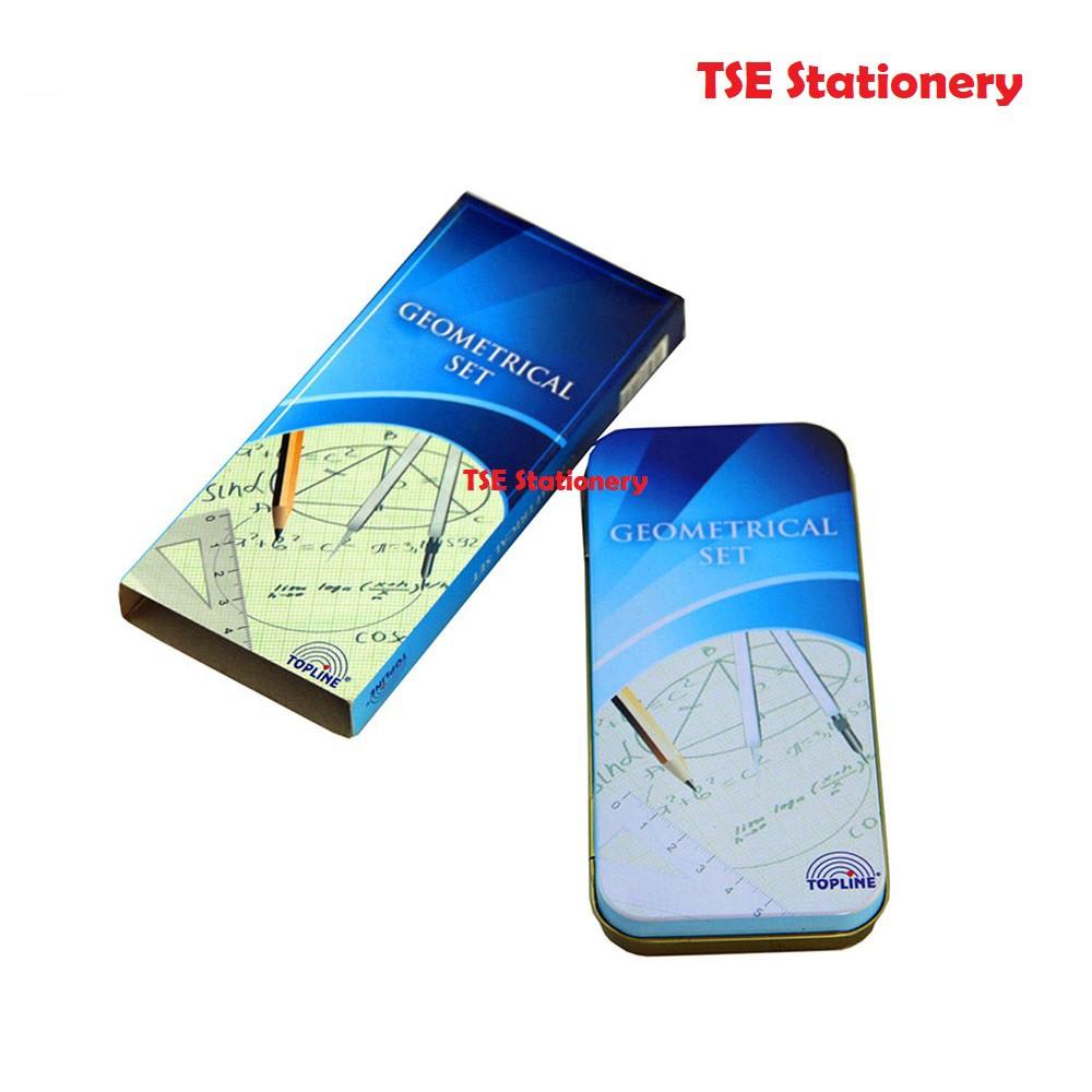 Topline Student Metal Compass / Kompas Belajar Mathematical Instruments Set Geometry set