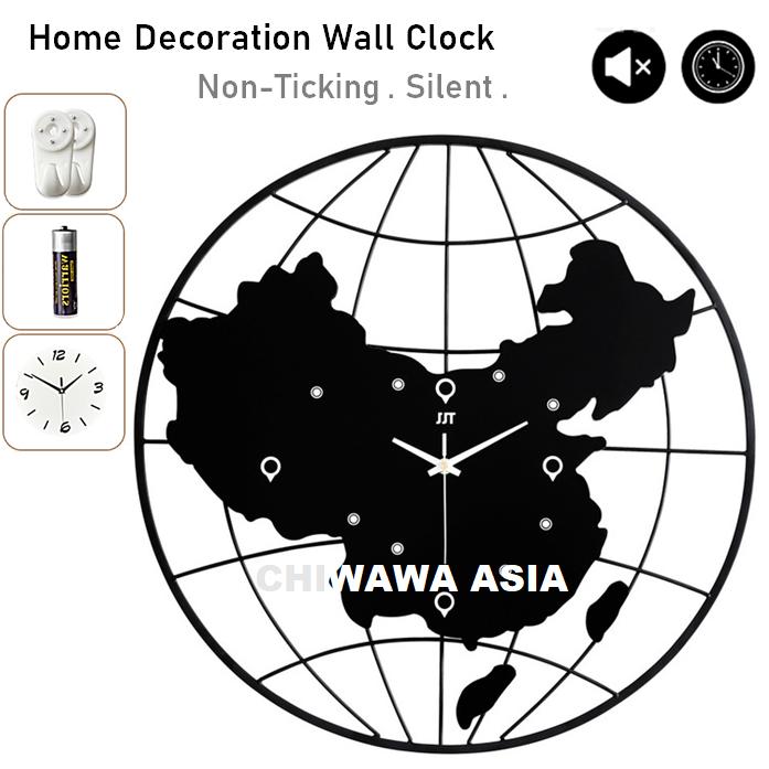 Silent Non-Ticking Modern 3D Earth Globe DIY Horloge Wall Clock Home Office Living Room / Jam Dinding