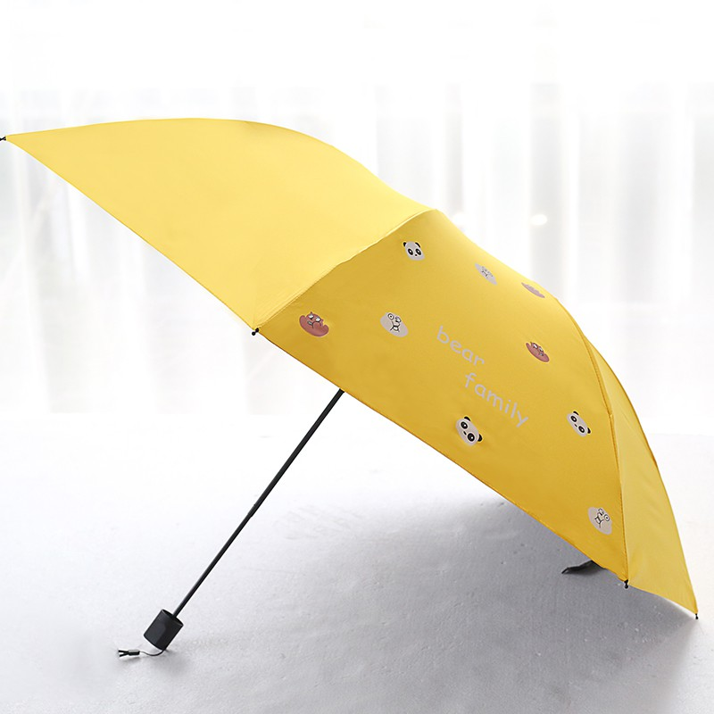 Yellow Lemon Gray Wave fashion print cute Windproof automatic tri-fold umbrella sun UV protection Sun umbrella