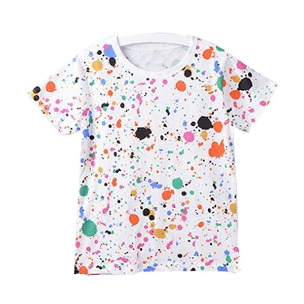 เสื้อยืดแขนสั้นผ้าฝ้ายหลากสีสำหรับเด็ก
