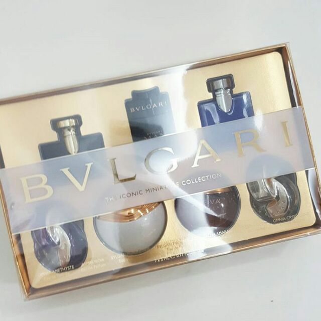 Authentic Bvlgari Iconic Miniature Collection 7 Pieces Gift Set For Men    Women   Shopee Malaysia 443f30f228a