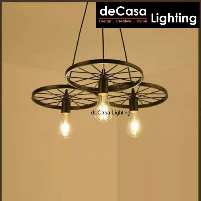DECASA LIGHTING Pendant Light Black Metal Loft Lamp E27 Holder Ceiling Light Lampu Gantung Hanging Light (219-3)