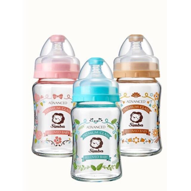 Simba Crystal Romance Wide Neck Borosilicate Glass Feeding Bottle 180ml Pink