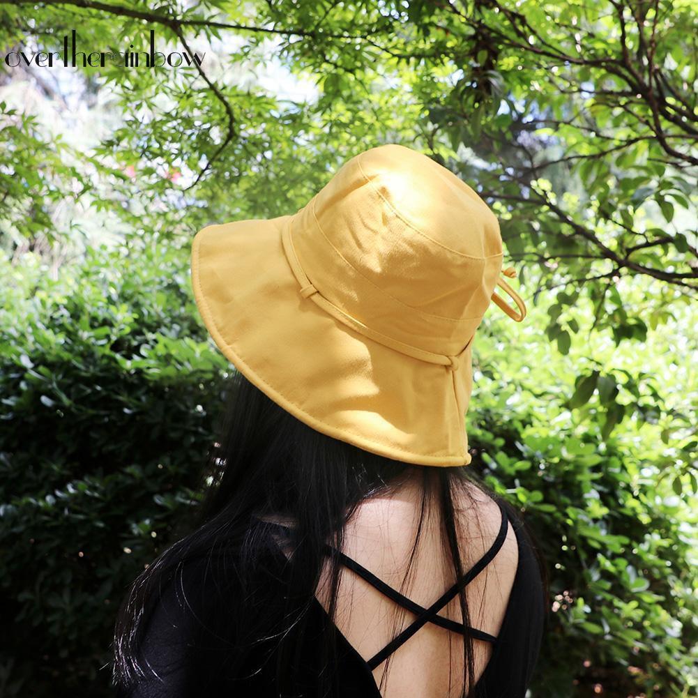 f72258a41 【Hat】Summer Women Sun Protection Big Wide Brim Visor Foldable Cap Bucket Hat