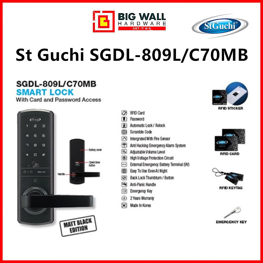 ST GUCHI SGDL-809L/C70 SMART DIGITAL DOOR LOCK (With Free Luggage Padlock)
